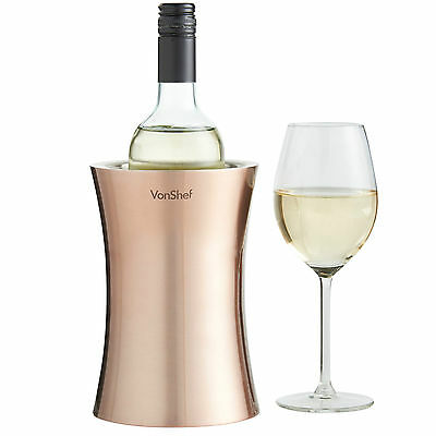 VonShef Copper Insulated Wine Bottle Chiller Stainless Steel Cooler Holder