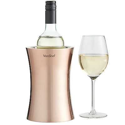 VonShef Wine Bottle Cooler Copper Stainless Steel Champagne Chiller Ice Bucket