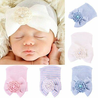 Cute Newborn Baby Infant Girl Toddler Soft Comfy Bowknot Hospital Cap Beanie Hat
