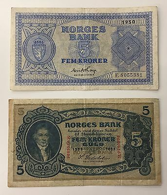 2 X 5 Kronur Banknotes Collection - 1950 + 1933 - Norway - Norges Bank...(672)