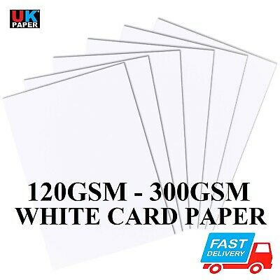 A2 A3 A4 A5 A6 WHITE CARD BLANKS CRAFT MAKING DECOUPAGE STOCK PAPER 120 - 300gsm