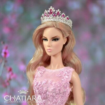 Diamond  Pink Crown Tiara Fashion Royalty Dolls Barbie