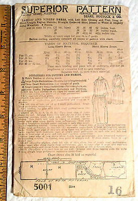1919 SEARS, ROEBUCK PATTERN FOR  YOUNG WOMEN's DRESS AGE 16 COMPLETE UNPRINT  NR
