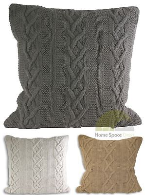 Hand Knitted 100% Cotton Cushion Covers Square Scatter Case Paoletti Luxury New