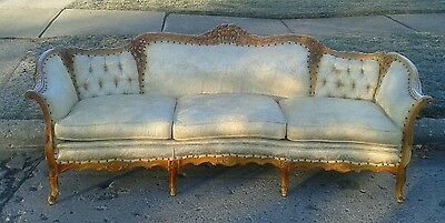Vintage Carved French Provincial Style Tufted Sofa Yellow, stained cushions