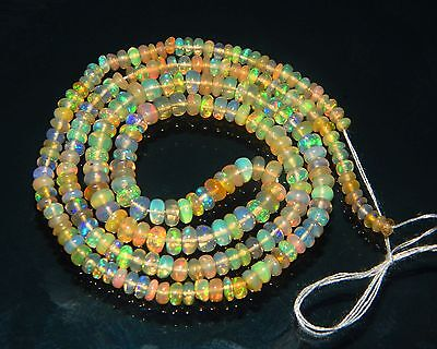 20.20 Cts 2 to 3 mm Natural Ethiopian Orange Fire Opal Plain Beads 15''