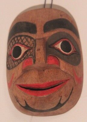 Hand Carved Solid Wood Reproduction Native American Miniature Mask 100Mm X 75Mm