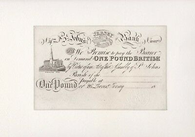 Collectors Limited Edition - St.John's Jersey Bank £1 Print from original plate.