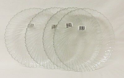 Free shipping – NEW – SEABREEZE – 4 clear glass dinner plates - Arcoroc