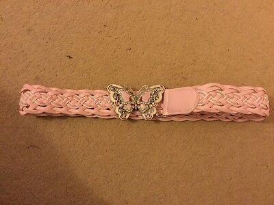 Girls Pretty Pink And Diamonte Butterfly Belt For Girl