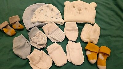 newborn baby scratch Mitts and hat bundle