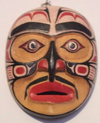 Hand Carved And Painted Wood Reproduction Native American Sun Miniature  Mask