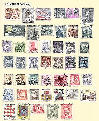 Czechoslovakia Page Of 45 Sound Stamps; No Duplication.