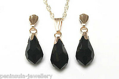 9ct Gold Black Swarovski Crystal Elements Pendant and Earring Set Gift Boxed