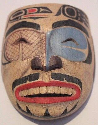Hand Carved And Painted Solid Wood Reproduction Native American Miniature  Mask