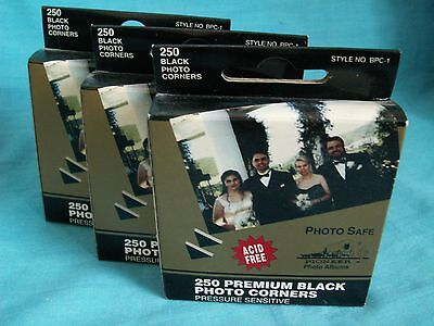 3 Packs of Pioneer Photo Corners Black Pressure Seneitive Self-Adhesive 250/box