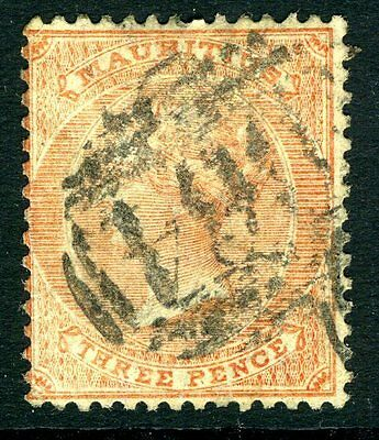 SEYCHELLES-MAURITIUS-1863-72  3d Dull Red Cancelled B64 Sg Z19  FINE USED V13881