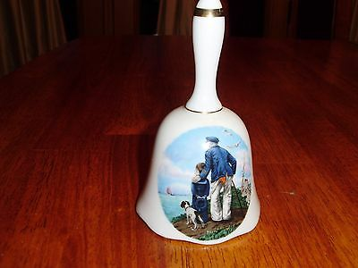 Made In Usa Norman Rockwell Collector's Bell Looking Out To Sea 1982 Porcelain