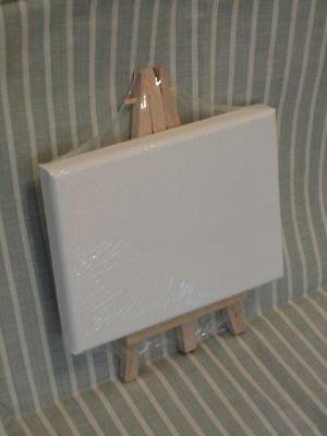 Small Blank Mounted Canvas With Wooden Easel Art Craft