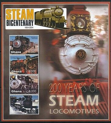 200 yrs of Steam Locomotives, Trains, Ghana 2005 MNH SS -A2