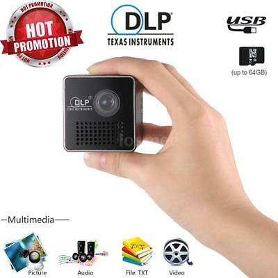 "Portable Mini DLP Projector Full 1080P HD Beamer Home Theater 3.5mm 70"" Screen"
