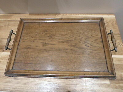 Vintage wooden serving tray with brass handles
