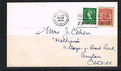 QEII 1953 cover with 11/2d wilding and GV cut out