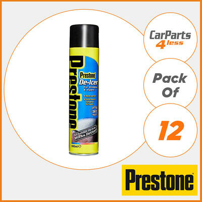De-Icer 12x 600ml 7.2L Aerosol Ice Melting Formula Winter - Prestone LOYAS244UK