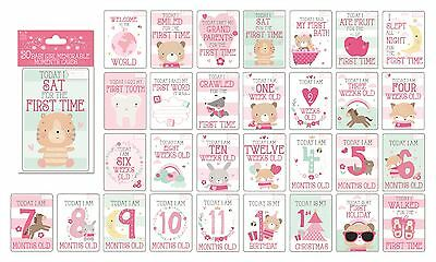 Baby Girl Memorable Moments Milestone Cards Baby Shower Gift Mum to be Present