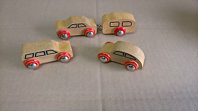 Autos Brio 31405 Vintage Old Accessory Cars Set Holzeisenbahn Wooden Railway