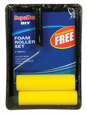"SupaDec DIY 9"" Foam Roller & Tray Set Low Paint Splatter Extra Roller Head FREE"