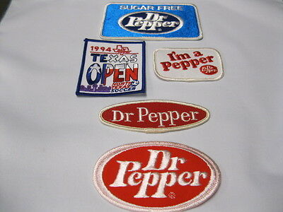 Dr Pepper Cloth Patches  Five (5)  See Photo's