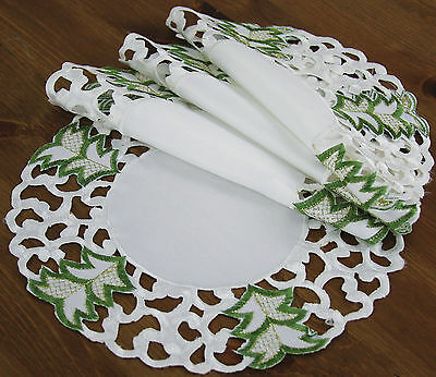 Xia Home Fashions Tannenbaum Embroidered Cutwork Holiday Placemat Set of 4