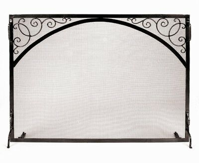 Scroll and Arch Single Panel Wrought Iron Fireplace Screen