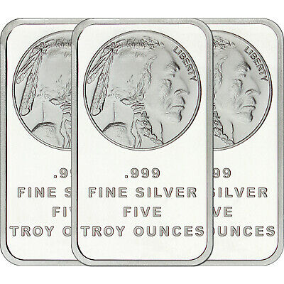 American Buffalo Bar by SilverTowne 5oz .999 Silver Bar (3pc)