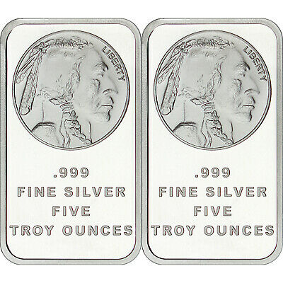 American Buffalo Bar by SilverTowne 5 oz .999 Silver Bar-QTY of 2