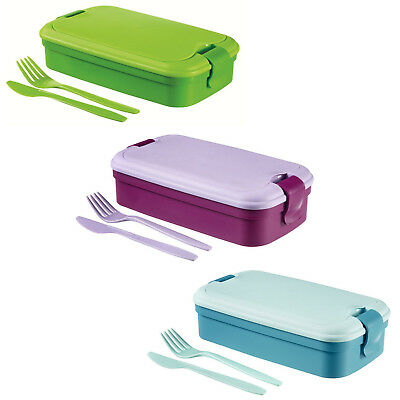 Lunchbox + Besteck Curver Lunch&Go 3 Farben 5-teilig Brot Dose Stulle Box Büchse