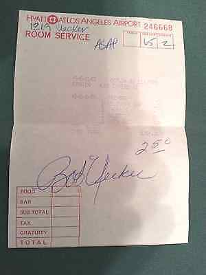 Bob Uecker  Hand Signed Room Service Tab  Authentic Autograph