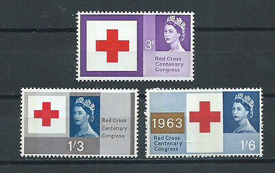 Great Britain , Red Cross , 1963 , 100Th Anniv., Set Of 3 , Phosphore ,rare, Mnh