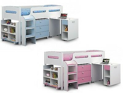 Childrens Kids Kimbo Cabin Mid Sleeper Bed with Desk & Drawers - Pink or Blue