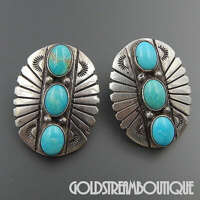 Darrell Cadman Navajo 925 Silver Turquoise Gorgeous Oval Concho Post Earrings