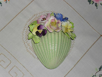 vintage sylvac wall pocket - No. 156 - Green with Flowers