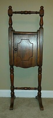 "Antique Tobacco Humidor Wooden Smoking Stand Pipe Cigar Cabinet 30""x10.5""x8.5"""