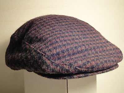 100% Wool Houndstooth Newsboy Cabbie Cap Hat With Ear Flaps-Large-Black & Brown