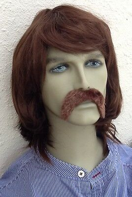 Brown Shoulder Length Fancy Dress Wig and Thick Droop Moustache