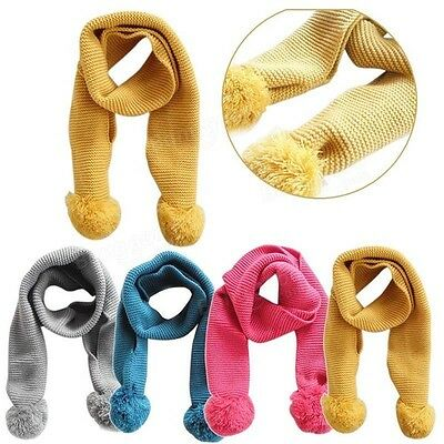 Cute Warm Winter Baby Childrens Kids Knitted Bobble Colourful Bright Long Scarf