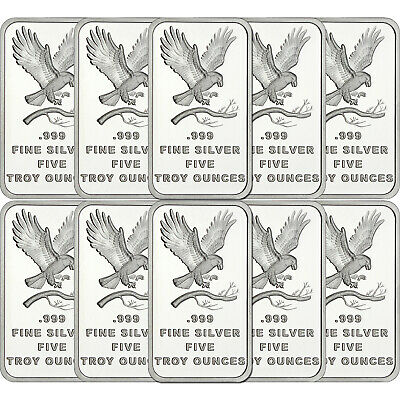 SilverTowne Trademark Eagle 5oz .999 Silver Bar (10pc)