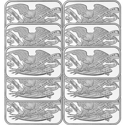 Retro SilverTowne Eagle & Shield 1oz .999 Fine Silver Bars LOT of 10