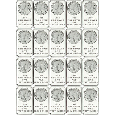 American Buffalo Bar by SilverTowne 5oz .999 Fine Silver Bar (20 pc)