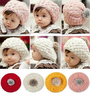 Childrens Classic Baby Girl Flat Knitted Bobble Soft French Pastel Beret Hat Cap